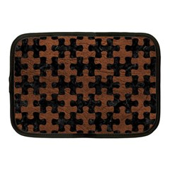 Puzzle1 Black Marble & Dull Brown Leather Netbook Case (medium)