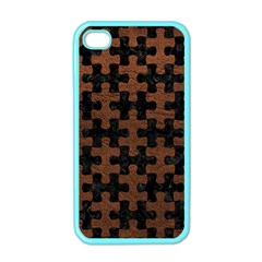 Puzzle1 Black Marble & Dull Brown Leather Apple Iphone 4 Case (color)