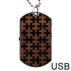 Puzzle1 Black Marble & Dull Brown Leather Dog Tag Usb Flash (two Sides)