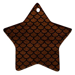 Scales1 Black Marble & Dull Brown Leather Star Ornament (two Sides)