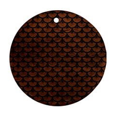 Scales3 Black Marble & Dull Brown Leather Round Ornament (two Sides)