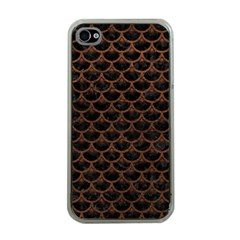 Scales3 Black Marble & Dull Brown Leather (r) Apple Iphone 4 Case (clear)