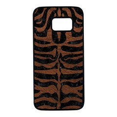 Skin2 Black Marble & Dull Brown Leather (r) Samsung Galaxy S7 Black Seamless Case