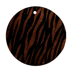 Skin3 Black Marble & Dull Brown Leather (r) Round Ornament (two Sides)