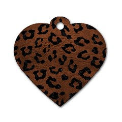 Skin5 Black Marble & Dull Brown Leather (r) Dog Tag Heart (one Side)