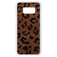 Skin5 Black Marble & Dull Brown Leather (r) Samsung Galaxy S8 White Seamless Case