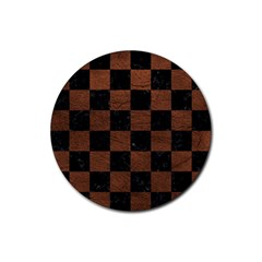 Square1 Black Marble & Dull Brown Leather Rubber Coaster (round)