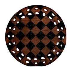 Square2 Black Marble & Dull Brown Leather Round Filigree Ornament (two Sides)