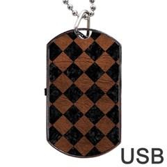 Square2 Black Marble & Dull Brown Leather Dog Tag Usb Flash (two Sides)