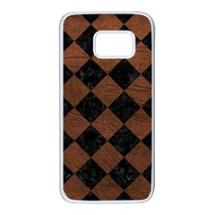 Square2 Black Marble & Dull Brown Leather Samsung Galaxy S7 White Seamless Case