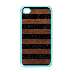 Stripes2 Black Marble & Dull Brown Leather Apple Iphone 4 Case (color)