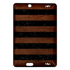 Stripes2 Black Marble & Dull Brown Leather Amazon Kindle Fire Hd (2013) Hardshell Case