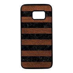 Stripes2 Black Marble & Dull Brown Leather Samsung Galaxy S7 Black Seamless Case