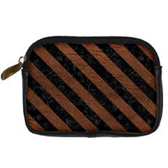 Stripes3 Black Marble & Dull Brown Leather Digital Camera Cases