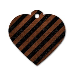 Stripes3 Black Marble & Dull Brown Leather (r) Dog Tag Heart (one Side)