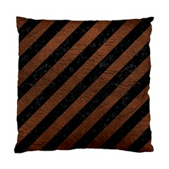 Stripes3 Black Marble & Dull Brown Leather (r) Standard Cushion Case (two Sides)