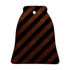 Stripes3 Black Marble & Dull Brown Leather (r) Ornament (bell)