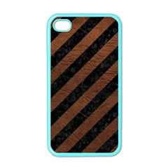 Stripes3 Black Marble & Dull Brown Leather (r) Apple Iphone 4 Case (color)