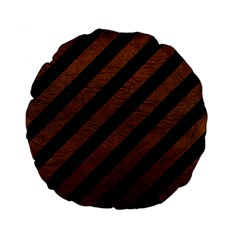Stripes3 Black Marble & Dull Brown Leather (r) Standard 15  Premium Flano Round Cushions