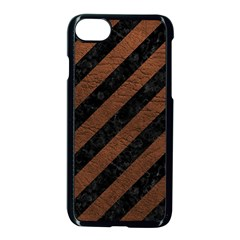Stripes3 Black Marble & Dull Brown Leather (r) Apple Iphone 8 Seamless Case (black)