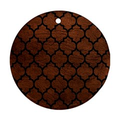 Tile1 Black Marble & Dull Brown Leather Round Ornament (two Sides)