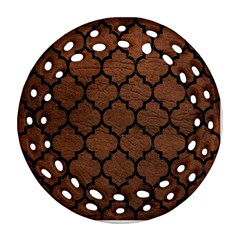 Tile1 Black Marble & Dull Brown Leather Round Filigree Ornament (two Sides)