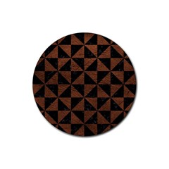 Triangle1 Black Marble & Dull Brown Leather Rubber Coaster (round)