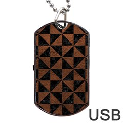 Triangle1 Black Marble & Dull Brown Leather Dog Tag Usb Flash (two Sides)