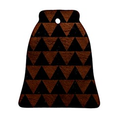 Triangle2 Black Marble & Dull Brown Leather Ornament (bell)