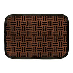 Woven1 Black Marble & Dull Brown Leather Netbook Case (medium)