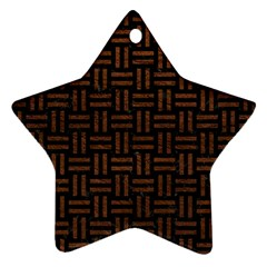 Woven1 Black Marble & Dull Brown Leather (r) Star Ornament (two Sides)