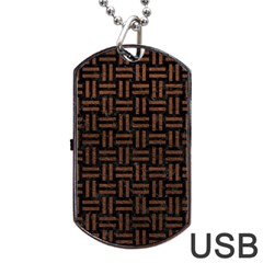 Woven1 Black Marble & Dull Brown Leather (r) Dog Tag Usb Flash (two Sides)
