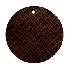 Woven2 Black Marble & Dull Brown Leather Round Ornament (two Sides)