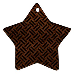 Woven2 Black Marble & Dull Brown Leather Star Ornament (two Sides)