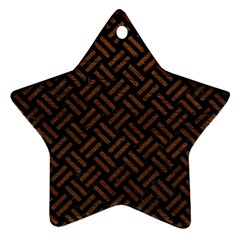 Woven2 Black Marble & Dull Brown Leather (r) Star Ornament (two Sides)