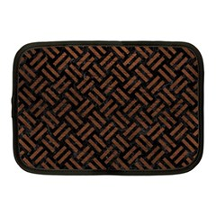 Woven2 Black Marble & Dull Brown Leather (r) Netbook Case (medium)