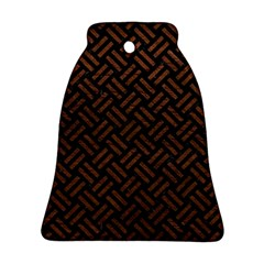 Woven2 Black Marble & Dull Brown Leather (r) Ornament (bell)