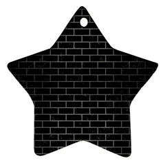 Brick1 Black Marble & Gray Brushed Metal (r) Star Ornament (two Sides)