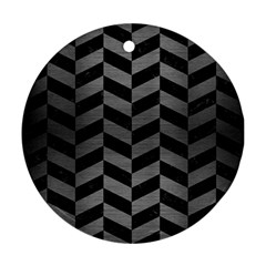 Chevron1 Black Marble & Gray Brushed Metal Round Ornament (two Sides)