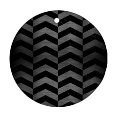 Chevron2 Black Marble & Gray Brushed Metal Round Ornament (two Sides)