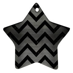 Chevron9 Black Marble & Gray Brushed Metal Star Ornament (two Sides)