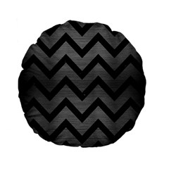 Chevron9 Black Marble & Gray Brushed Metal Standard 15  Premium Flano Round Cushions