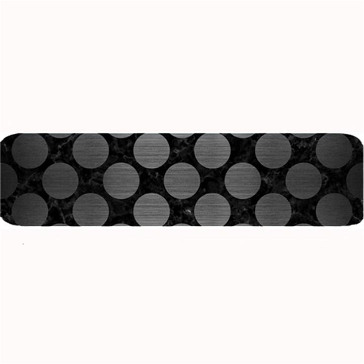 CIRCLES2 BLACK MARBLE & GRAY BRUSHED METAL (R) Large Bar Mats