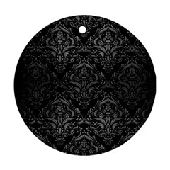 Damask1 Black Marble & Gray Brushed Metal (r) Round Ornament (two Sides)