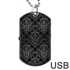 Damask1 Black Marble & Gray Brushed Metal (r) Dog Tag Usb Flash (two Sides)