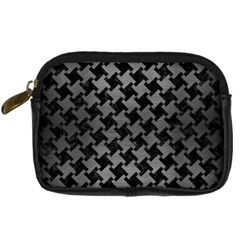 Houndstooth2 Black Marble & Gray Brushed Metal Digital Camera Cases