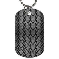 Hexagon1 Black Marble & Gray Brushed Metal Dog Tag (one Side)