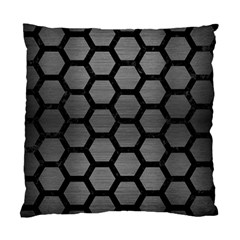 Hexagon2 Black Marble & Gray Brushed Metal Standard Cushion Case (two Sides)