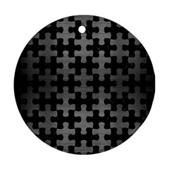 Puzzle1 Black Marble & Gray Brushed Metal Round Ornament (two Sides)