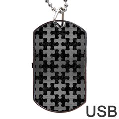 Puzzle1 Black Marble & Gray Brushed Metal Dog Tag Usb Flash (two Sides)